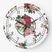 Pretty French Country Floral Large Clock