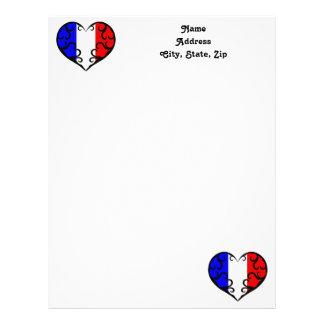 Pretty French heart Letterhead