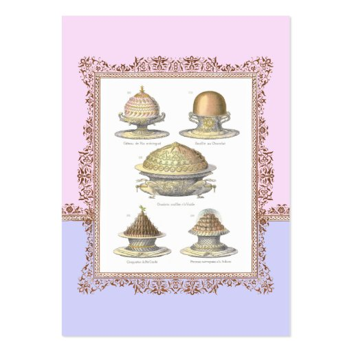 Pretty French Vintage Pastries for Bakery Large Business Card