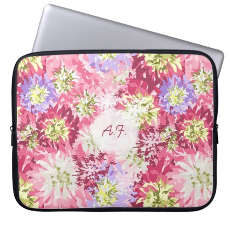 Pretty fresh garden flowers in pink and mauve computer sleeve