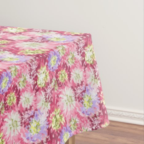 Pretty fresh garden flowers in pink and mauve tablecloth