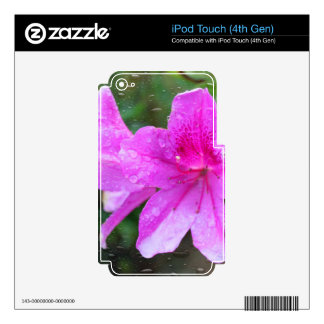 Pretty, fresh pink garden flowers, rain drops skins for iPod touch 4G