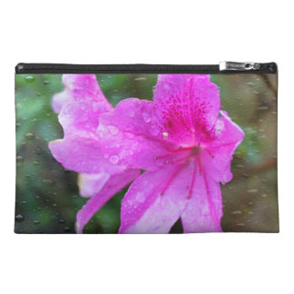 Pretty, fresh pink garden flowers, rain drops travel accessory bag
