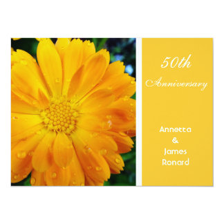 "pretty, fresh yellow daisy flower, anniversary 5.5"" x 7.5"" invitation card"
