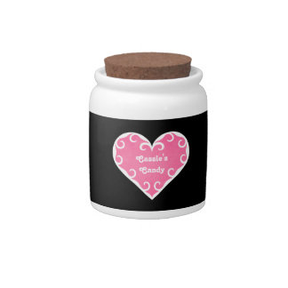 Pretty frilly girly pink heart candy jars