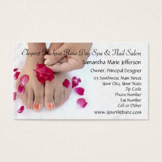 Pretty Fuchsia Pink Rose Pedicure Salon Business Card