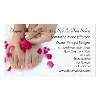 Pretty Fuchsia Pink Rose Pedicure Salon Double-Sided Standard Business Cards (Pack Of 100)