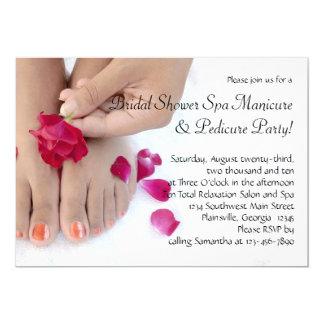 Pretty Fuchsia Pink Rose Pedicure Salon 5x7 Paper Invitation Card