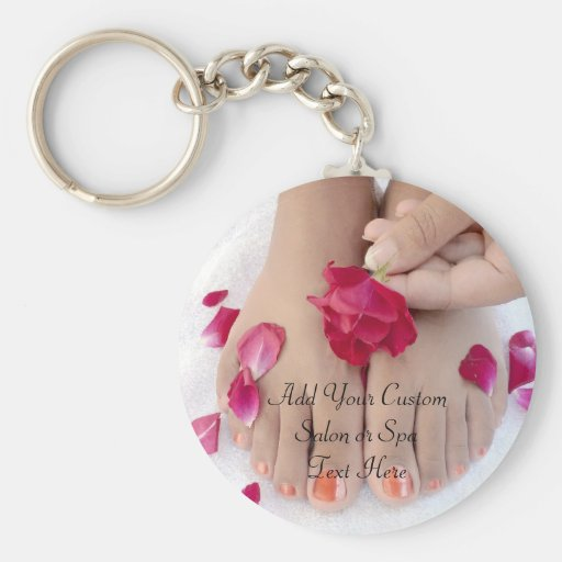 Pretty Fuchsia Pink Rose Pedicure Salon Key Chains