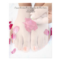 Pretty Fuchsia Pink Rose Pedicure Salon Letterhead