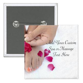 Pretty Fuchsia Pink Rose Pedicure Salon Pinback Button