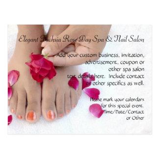 Pretty Fuchsia Pink Rose Pedicure Salon Postcard