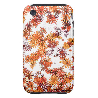pretty funky orange spring daisy flowers pattern iPhone 3 tough cover