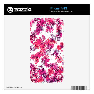 Pretty funky pink retro 60's spring flower power decals for iPhone 4S