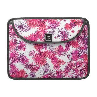pretty funky pink spring flowers girly pattern MacBook pro sleeves