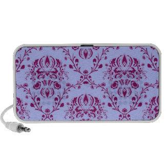 Pretty funky purple vintage art nouveau pattern travel speakers