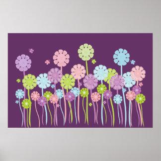 Pretty garden flowers & butterflies purple poster