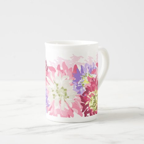 Pretty garden flowers watercolor effect tea cup