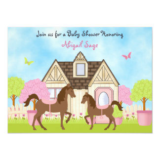 Pretty Garden Horse Baby Shower Invitations