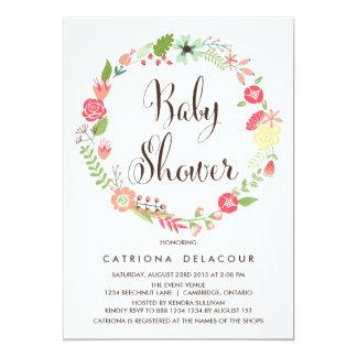 Pretty Garden Wreath Baby Shower Invitation