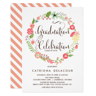 Pretty Garden Wreath Graduation Party Invitation