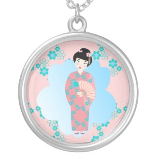 Pretty geisha and flowers necklace