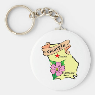 Pretty Georgia Map Tees and Gifts Keychain