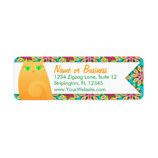 Pretty Ginger Kitty on Floral - Custom Labels