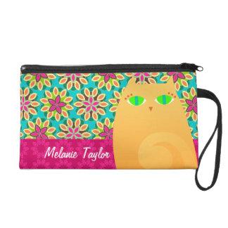 Pretty Ginger Kitty on Floral - Custom Mini Bag Wristlet Purse