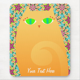 Pretty Ginger Kitty on Floral - Custom Mousepad