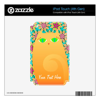 Pretty Ginger Kitty on Floral - Custom Skin iPod Touch 4G Decals