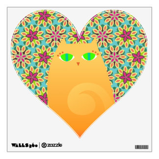 Pretty Ginger Kitty on Floral Heart Wall Decal