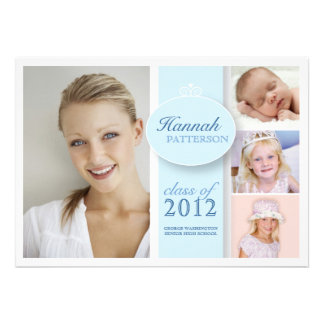 Pretty Girl 4 Photo in Blue Graduation Invitation