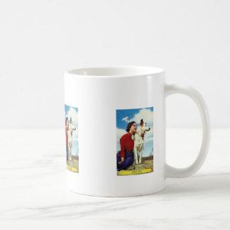 pretty girl and dog iowa casino cafe advetisment coffee mug