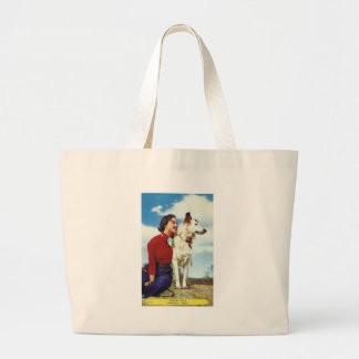 pretty girl and dog iowa casino cafe advetisment large tote bag