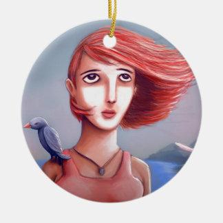 Pretty Girl And Her Bird Ceramic Ornament