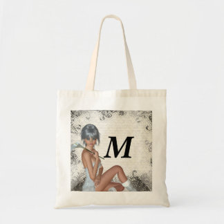 Pretty girl  and silver damask bag
