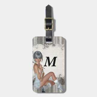 Pretty girl  and silver damask bag tag