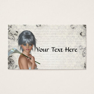 Pretty girl  and silver damask business card