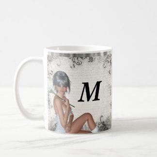 Pretty girl  and silver damask coffee mug