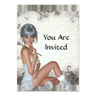 Pretty girl  and silver damask custom invite