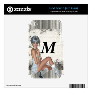 Pretty girl  and silver damask iPod touch 4G skin
