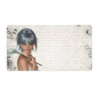 Pretty girl  and silver damask label