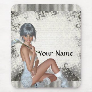 Pretty girl and silver damask mouse pads