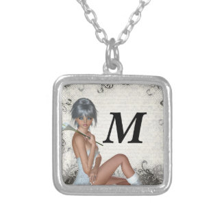Pretty girl  and silver damask personalized necklace