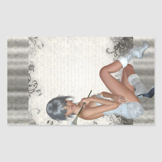 Pretty girl  and silver damask rectangular sticker