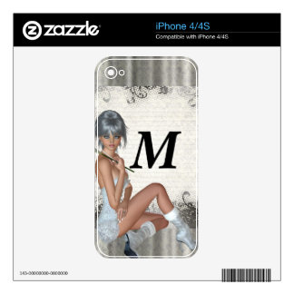 Pretty girl  and silver damask skin for iPhone 4S