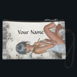 "Pretty girl  and silver damask wristlet<br><div class=""desc"">Easily personalize this pretty feminine girly modern digital graphic character of a young woman holding a lily and silver gray swirl lace vintage damask pattern background by adding your own name, text or monogram initials. Visit the GIFTZFORGIRLS Store for matching products and more pretty girly glamorous gifts for young girls,...</div>"