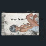 """Pretty girl  and silver damask wristlet<br><div class=""""desc"""">Easily personalize this pretty feminine girly modern digital graphic character of a young woman holding a lily and silver gray swirl lace vintage damask pattern background by adding your own name, text or monogram initials. Visit the GIFTZFORGIRLS Store for matching products and more pretty girly glamorous gifts for young girls,...</div>"""