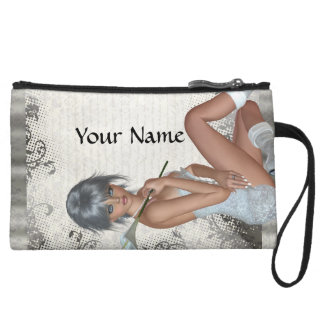 Pretty girl  and silver damask wristlet